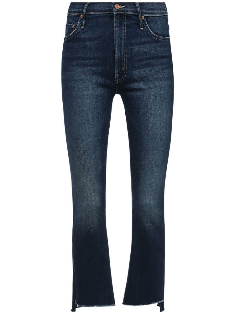 MOTHER The Insider Crop Step Frayed Denim Jeans in blue