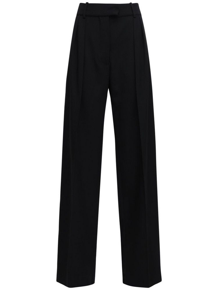 VALENTINO Granite Wool Wide Leg Pants W /pence in black