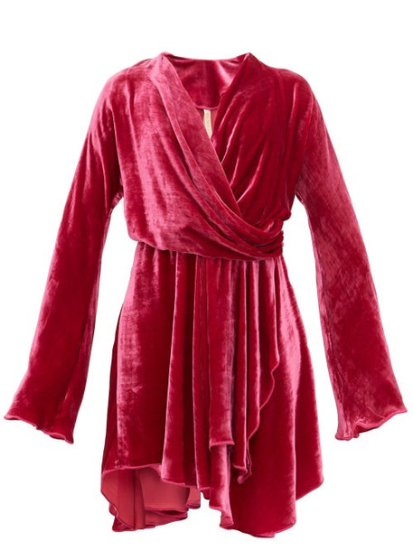 Maria Lucia Hohan - Nola Draped Velvet Dress - Womens - Dark Pink