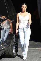 top,jeans,kourtney kardashian,kardashians,celebrity,tank top,denim