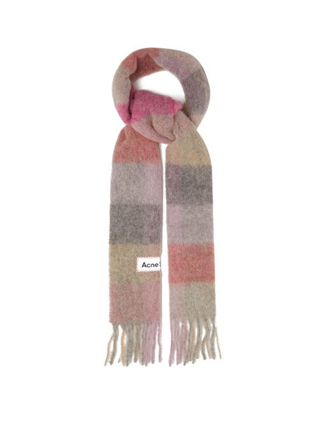 Acne Studios - Vally Checked Scarf - Womens - Pink Multi