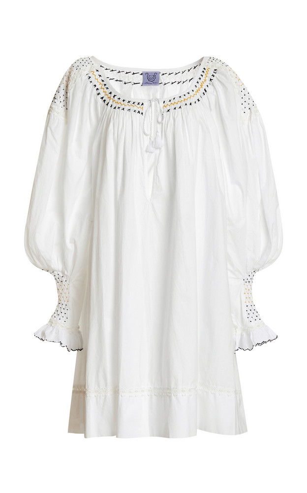 Thierry Colson Valeska Embroidered Cotton Mini Dress in white