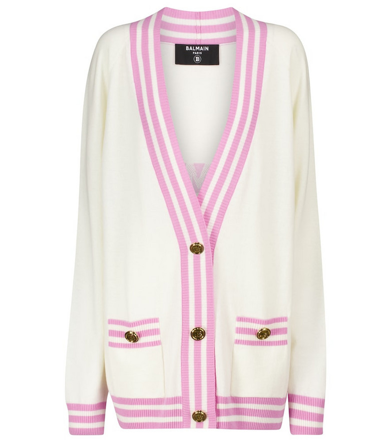 Balmain Wool and cashmere-blend cardigan in white