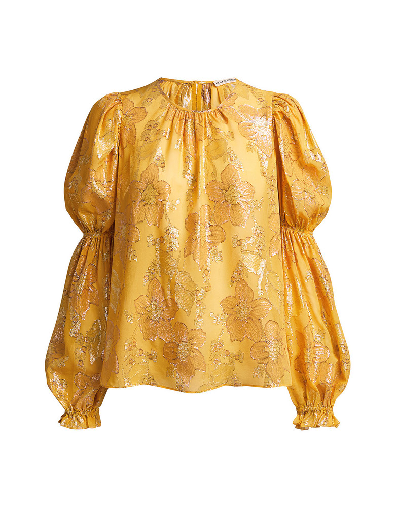 Ulla Johnson Aster Metallic Floral Jacquard Blouse Yellow