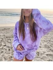 shorts,tie dye,summer,comfy,purple,beach