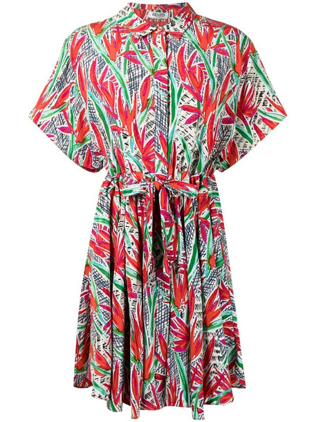 Kenzo Pre-Owned floral print short-sleeved dress in red