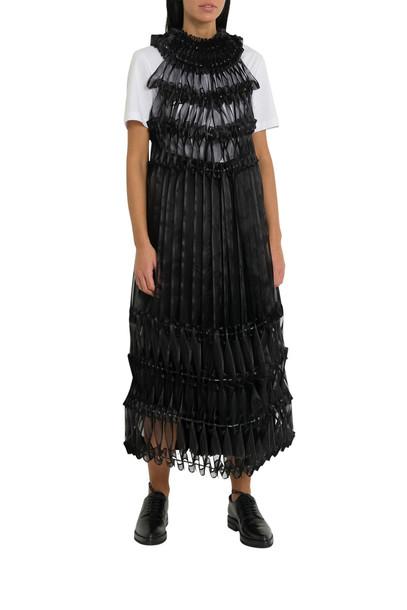 Noir Kei Ninomiya Pleated Ribbon-detail Crepe Midi Dress in nero