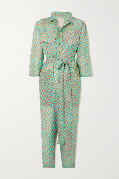 YVONNE S - Belted Printed Linen Jumpsuit - Green