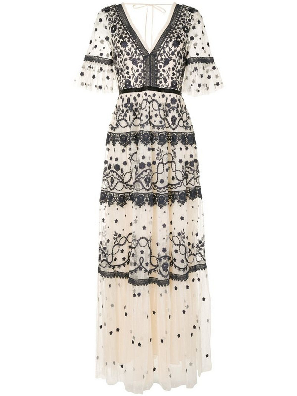 Needle & Thread tiered style embroidered dress in neutrals