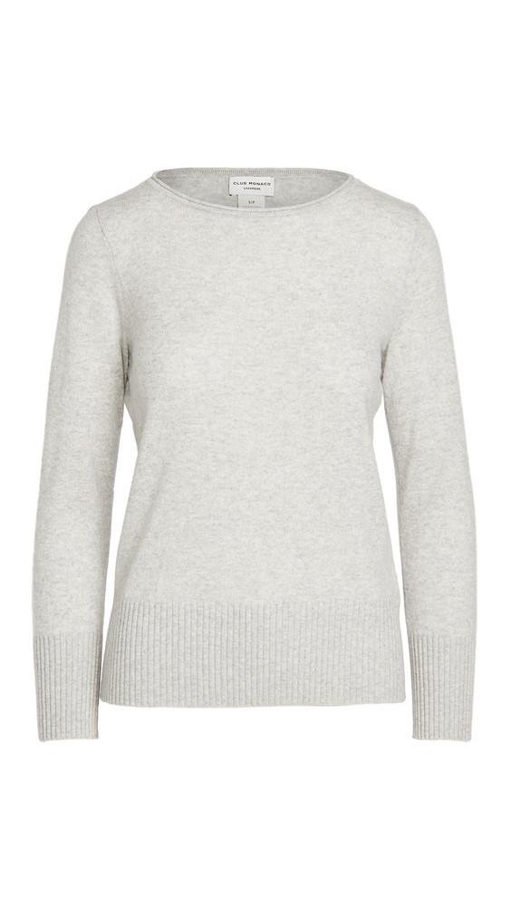 Club Monaco Essential Open Cashmere Sweater in grey