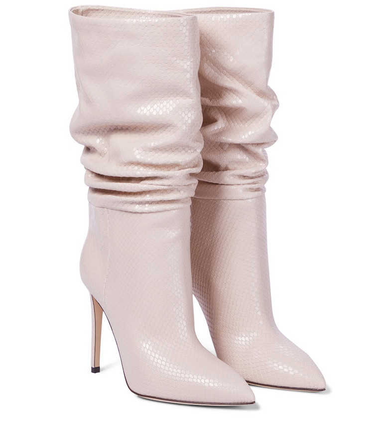Paris Texas Snake-effect leather boots in beige