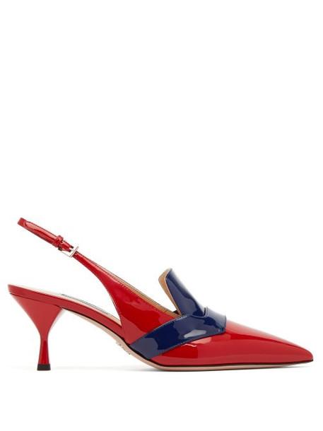 Prada - Bi Colour Patent Leather Slingback Pumps - Womens - Red Navy