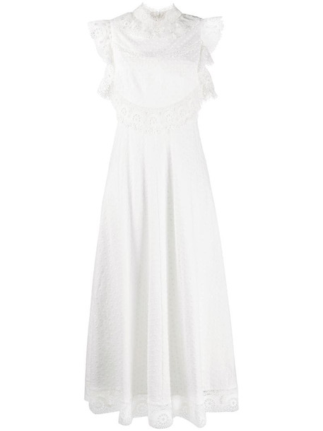 Zimmermann laser-cut lace dress in white