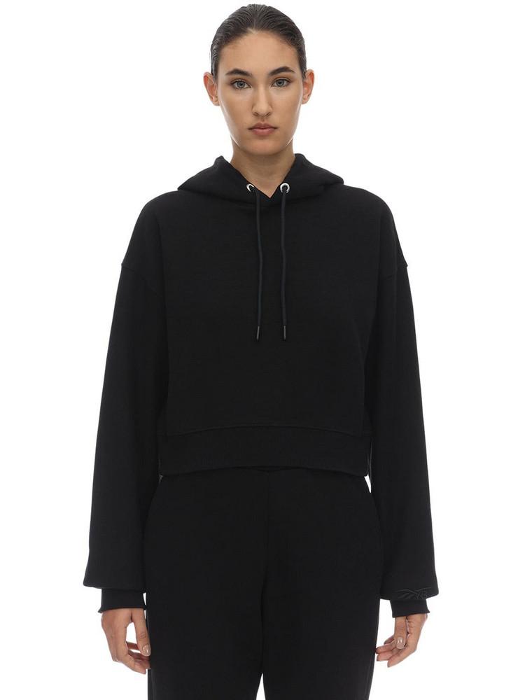 REEBOK X VICTORIA BECKHAM Cropped Cotton Sweatshirt Hoodie in black