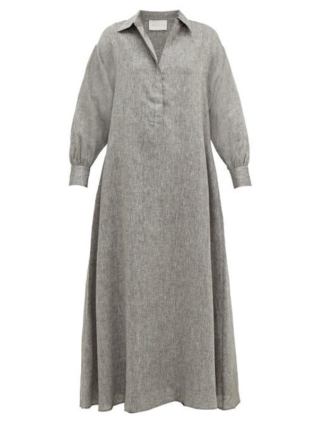Asceno - Porto Linen Maxi Dress - Womens - Grey