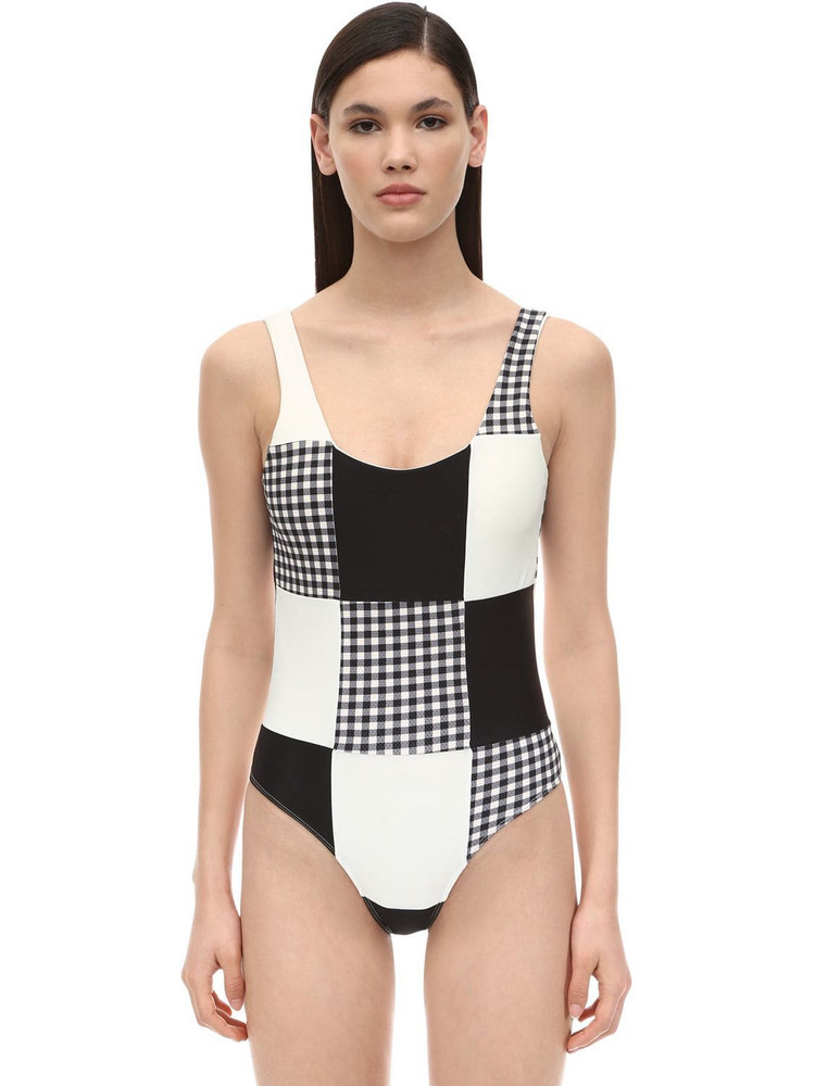 PAPER LONDON Patchwork One Piece Swimsuit in black / white