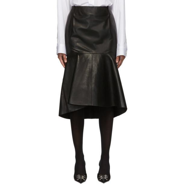 Balenciaga Black Leather Godet Skirt