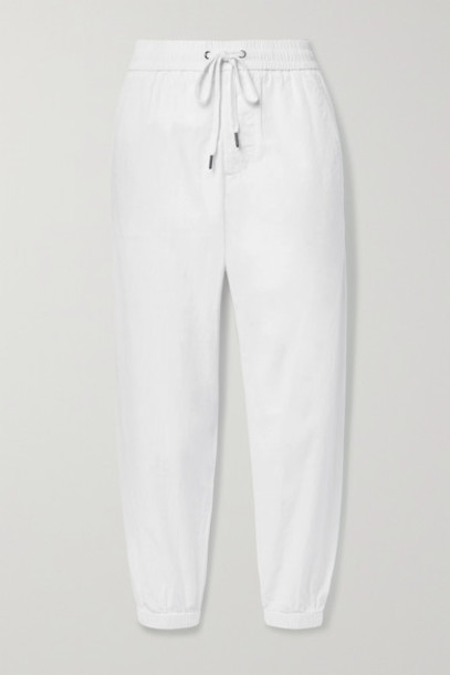 James Perse - Crinkled Cotton-poplin Track Pants - White