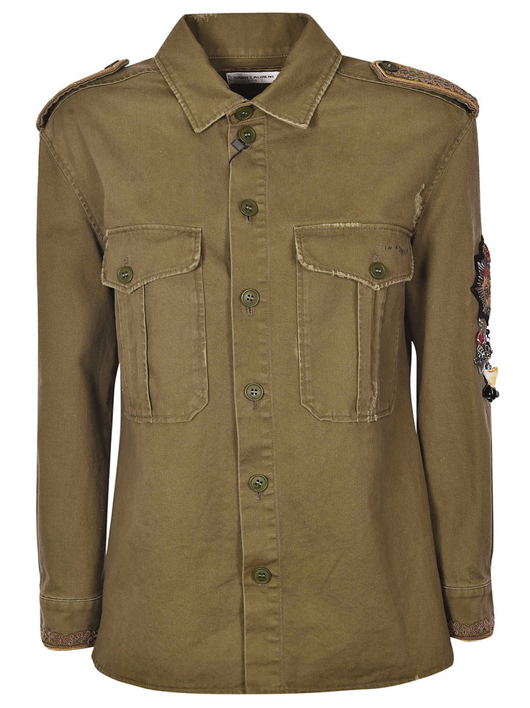 Saint Laurent Embellished Military Shirt in green