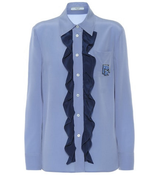 Prada Ruffled silk shirt in blue