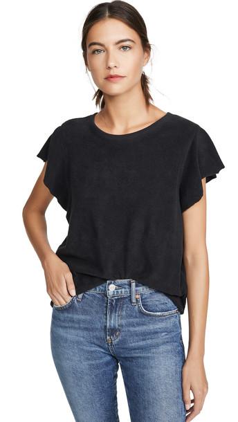 Goldie Sleeveless Ruffle Sweatshirt in black