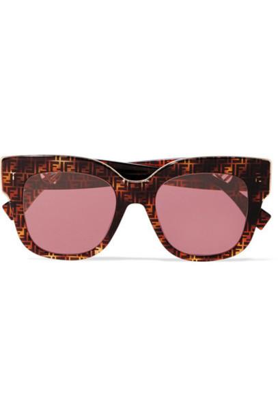 Fendi - Oversized Square-frame Printed Tortoiseshell Acetate Sunglasses
