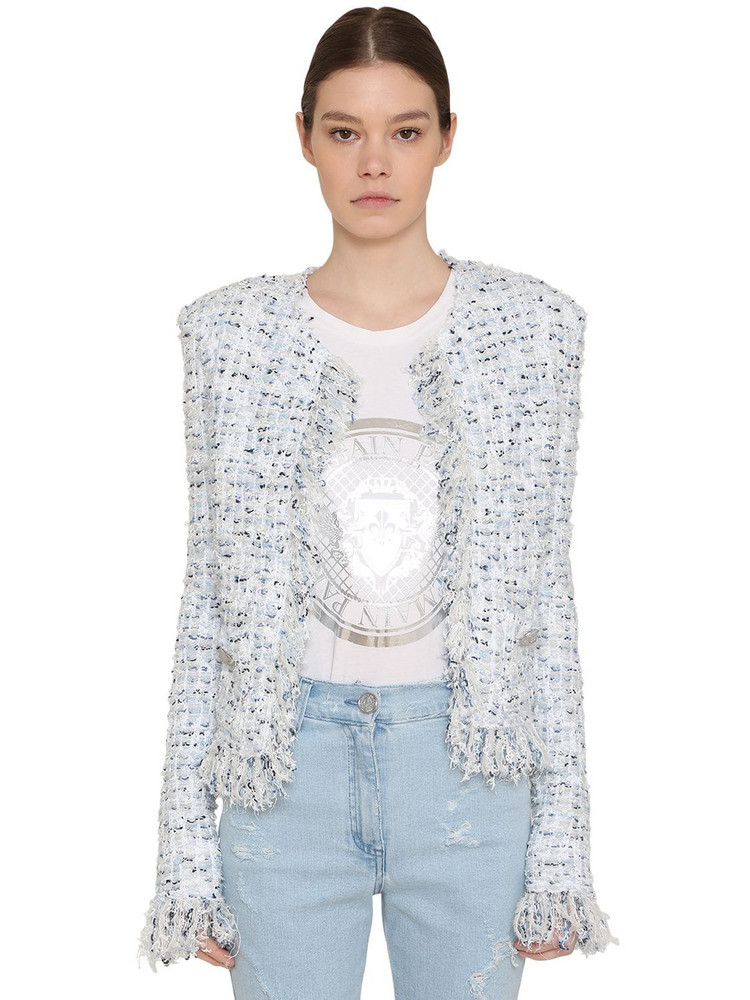 BALMAIN Fringed Lurex Tweed Jacket in blue