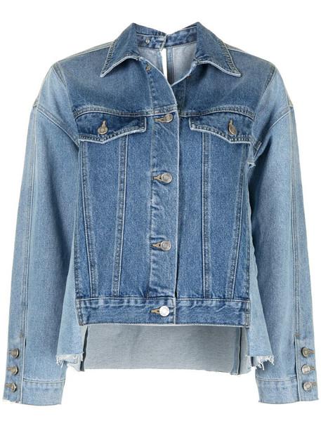 SJYP contrasting panel denim jacket in blue