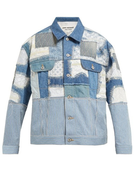 Junya Watanabe - Patchwork Denim And Lace Jacket - Womens - Blue Multi