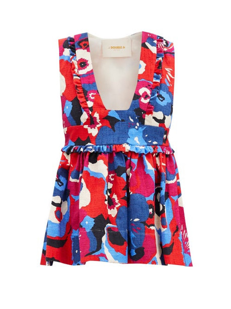 La DoubleJ - Casati Fluted Floral-print Shot-cotton Top - Womens - Red Multi