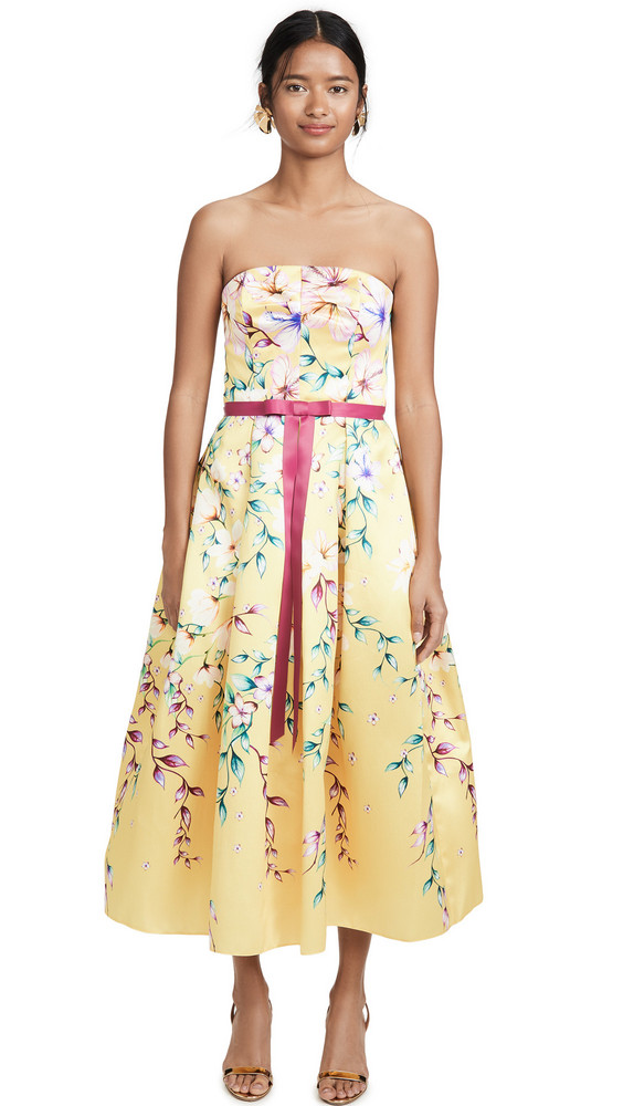 Marchesa Notte Strapless Printed Corseted Gown in yellow