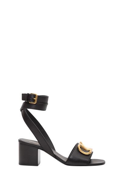 Valentino Garavani Go Logo Sandal 60 Heel In Vacchetta Antique Brass Logo in nero