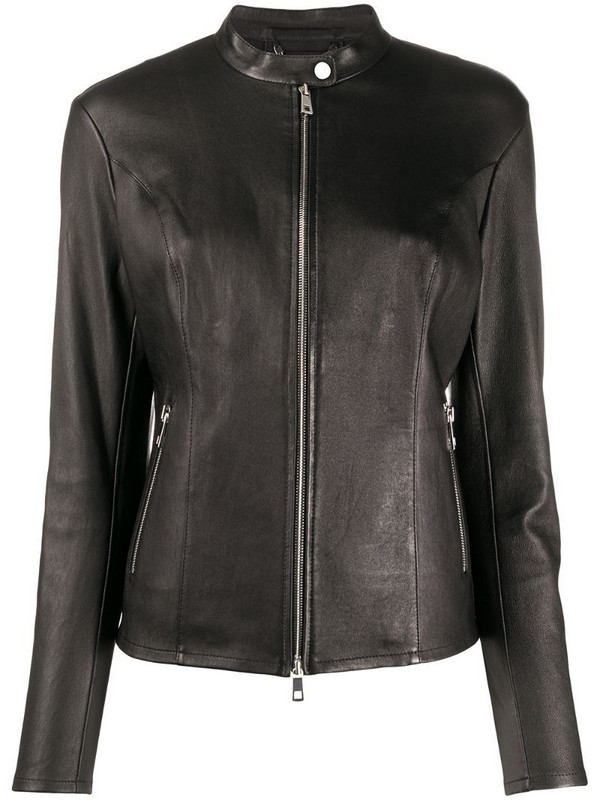 Desa 1972 fitted zipped leather jacket in black