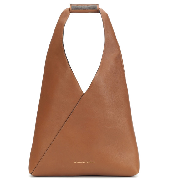 Brunello Cucinelli Leather shoulder bag in brown