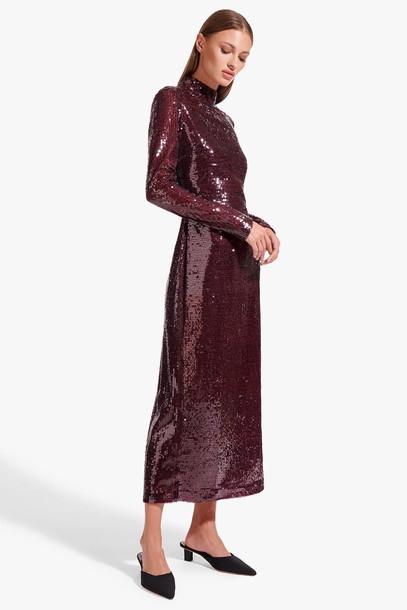 Staud LIZA DRESS | MERLOT SEQUIN