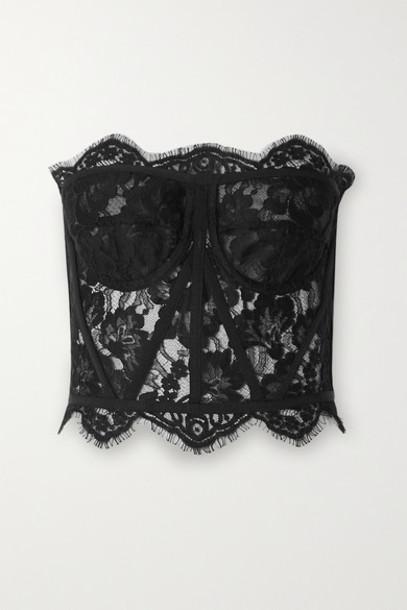 Dolce & Gabbana - Grosgrain-trimmed Lace Bustier Top - Black