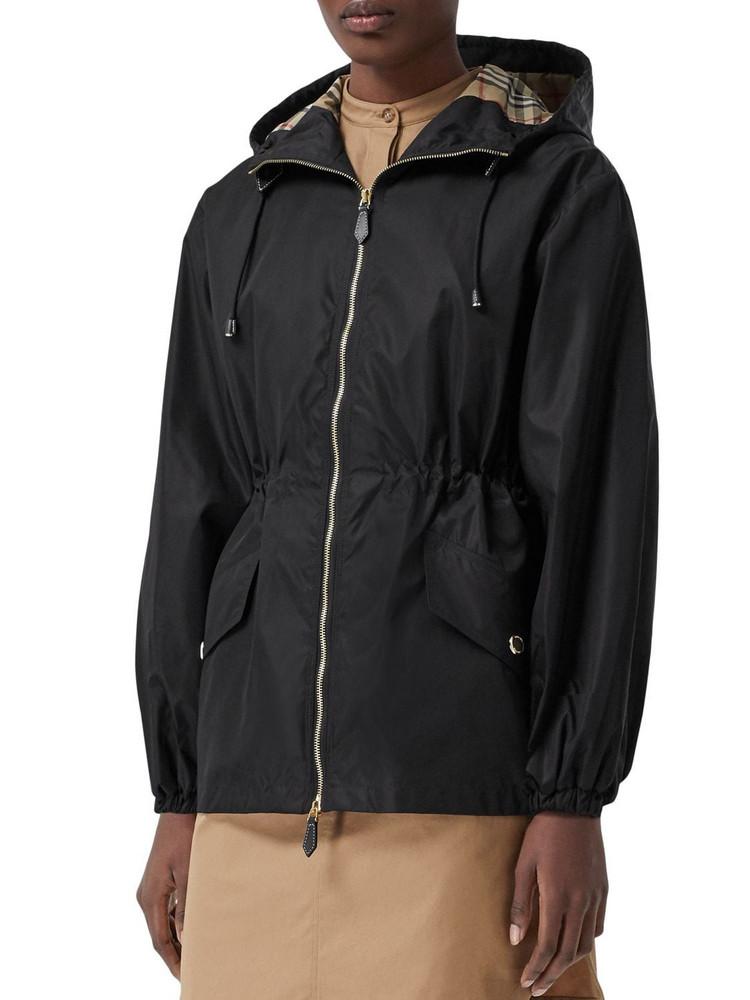 BURBERRY Binham Nylon Hooded Parka Coat in black