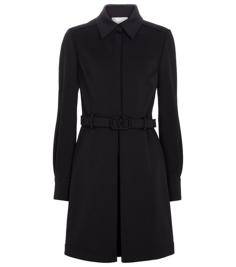 Valentino Belted jersey shirt dress in black