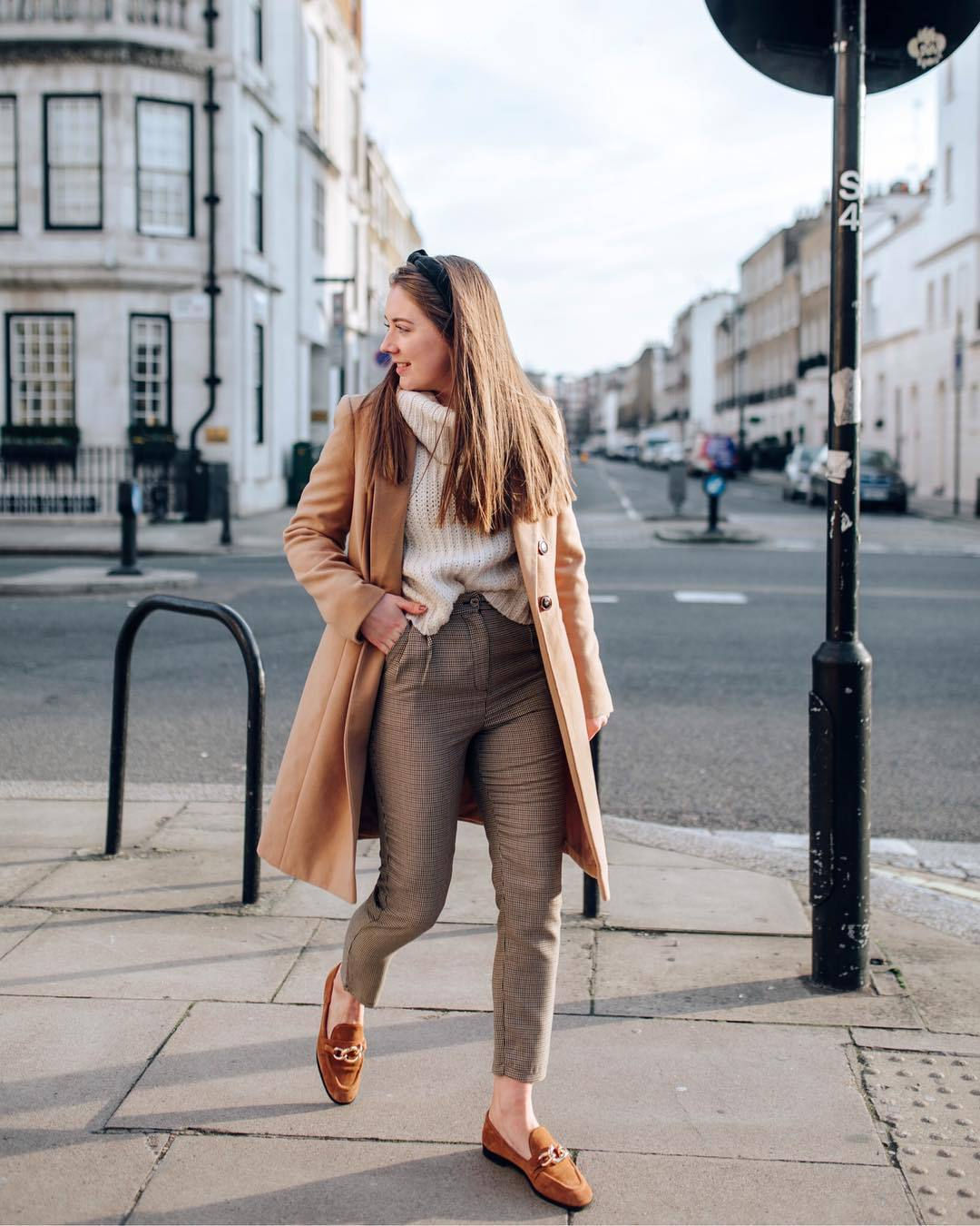 pants high waisted pants loafers brown shoes plaid camel coat white sweater turtleneck sweater