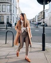 pants,high waisted pants,loafers,brown shoes,plaid,camel coat,white sweater,turtleneck sweater