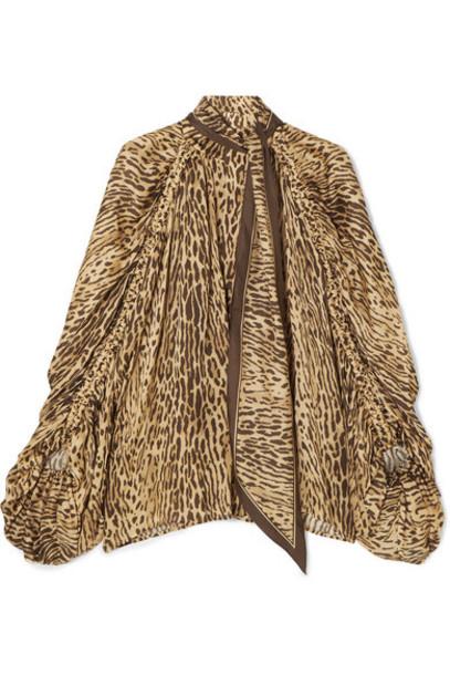 Zimmermann - Espionage Pussy-bow Leopard-print Silk Blouse - Brown