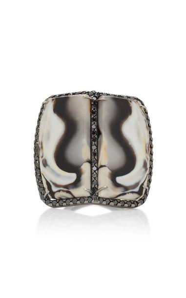 Kimberly McDonald 18K Gold Opal And Black Diamond Ring