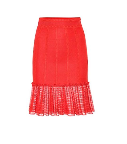 Alexander McQueen Organza-trimmed knit miniskirt in red