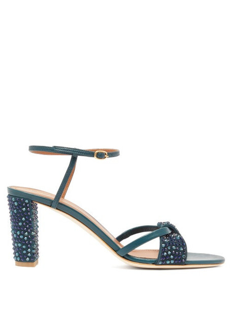 Malone Souliers - Tara Crystal Embellished Leather Sandals - Womens - Dark Green