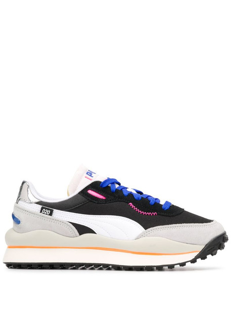 Puma contrast panel logo embroidered sneakers in black