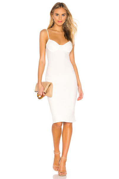 superdown Leona Rib Midi Dress in white