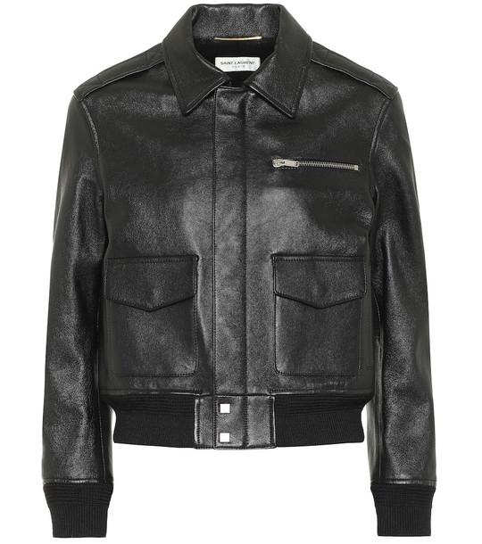 Saint Laurent Leather bomber jacket in black