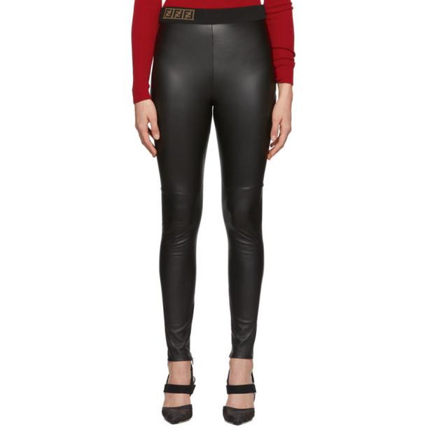 Fendi Black Leather Forever Fendi Trousers
