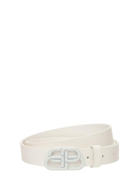BALENCIAGA 3cm Bb Leather Belt in white