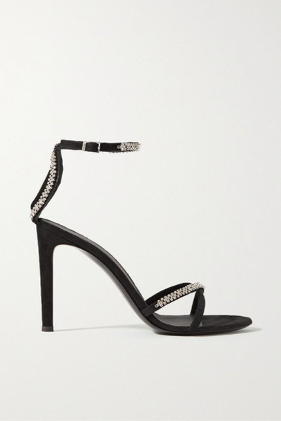 Giuseppe Zanotti - Crystal-embellished Suede Sandals - Black